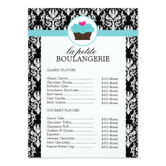Pretty Damask Bakery Price List Card