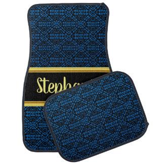 Pretty Damask Lace Pattern Black and Blue #5 Car Mat