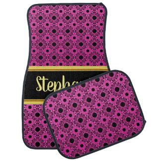 Pretty Damask Lace Pattern Pink and Black #17 Car Mat