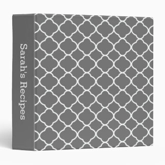 Pretty Dark Gray Quatrefoil Kitchen Recipe Binder