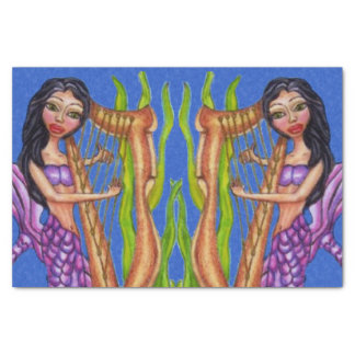 Pretty Dark Haired Purple Mermaid Harp Ocean Tissue Paper