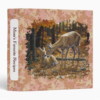 Pretty Deer and Fawn Autumn Leaves Vinyl Binders