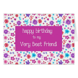Pretty Ditsy Floral Best Friend Birthday Card