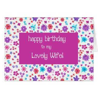 Pretty Ditsy Floral For a Lovely Wife Birthday Card