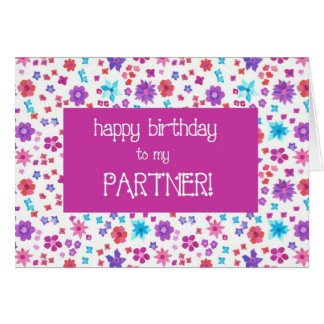 Pretty Ditsy Floral For a Partner Birthday Card