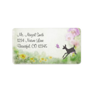 Pretty Doe and Butterfly Deer Address Label