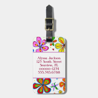Pretty Double Sided Big Flowers Luggage Tag