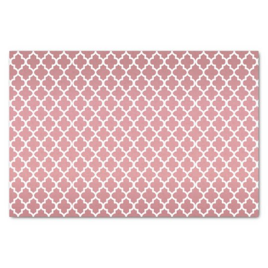 Pretty Dusty Rose and Quatrefoil Pattern Tissue Paper