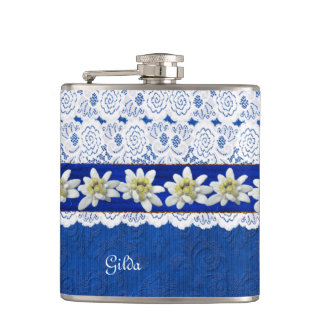 Pretty Edelweiss and Lace Custom Flask
