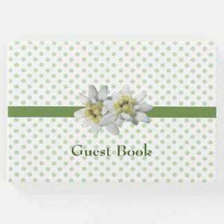 Pretty Edelweiss and Polka dot Wedding Guest Book