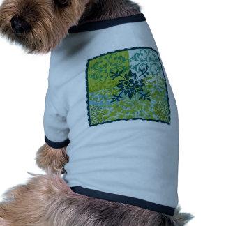 Pretty Elegant Blue Green Floral Damask Pattern Dog Tee Shirt