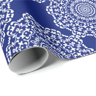 Pretty Elegant Dark Blue White Lacy Patterned Wrapping Paper