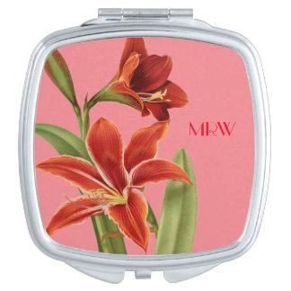 Pretty Elegant Feminine Flowers Optional Monogram Compact Mirror