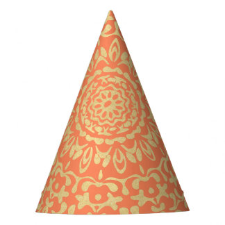 Pretty Elegant Gold Coral Lacy Patterned Party Hat