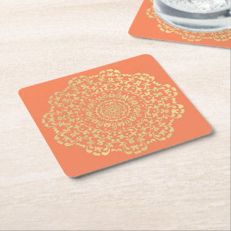 Pretty Elegant Gold Coral Lacy Patterned Square Paper Coaster