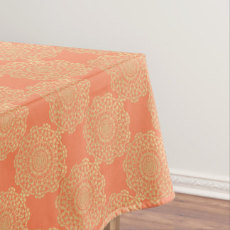 Pretty Elegant Gold Coral Lacy Patterned Tablecloth