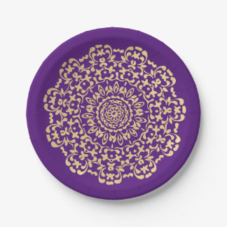 Pretty Elegant Gold Deep Pujrple Lacy Patterned Paper Plate