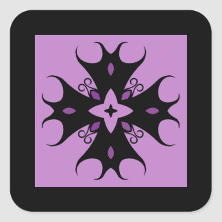 Pretty elegant gothic cross motif black and purple square sticker