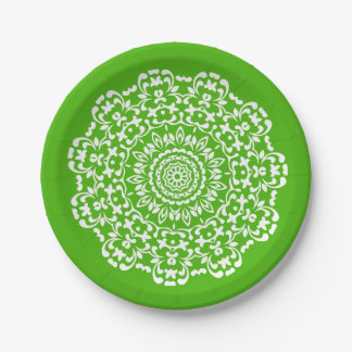 Pretty Elegant Green White Lacy Patterned Paper Plate