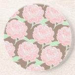 Pretty Elegant Pink Tan Flowers Floral Pattern
