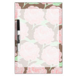 Pretty Elegant Pink Tan Flowers Floral Pattern Dry Erase Whiteboards