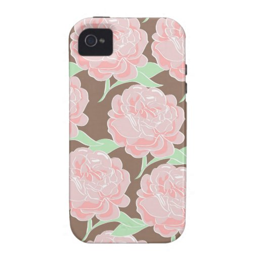 Pretty Elegant Pink Tan Flowers Floral Pattern iPhone 4 Cases