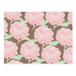 Pretty Elegant Pink Tan Flowers Floral Pattern Post Cards