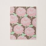 Pretty Elegant Pink Tan Flowers Floral Pattern Puzzle