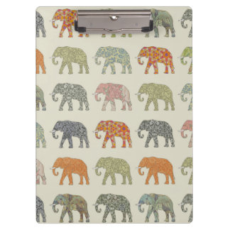 Pretty Elephant Pattern Colorful Clipboard
