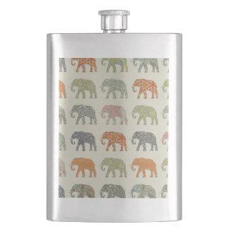 Pretty Elephant Pattern Colorful Hip Flask