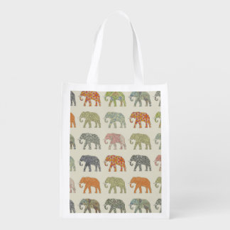 Pretty Elephant Pattern Colorful Reusable Grocery Bag