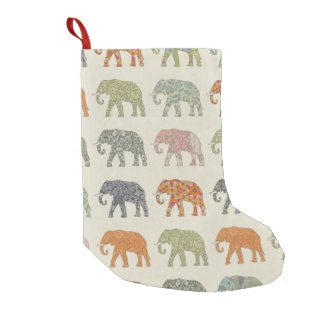 Pretty Elephant Pattern Colorful Small Christmas Stocking