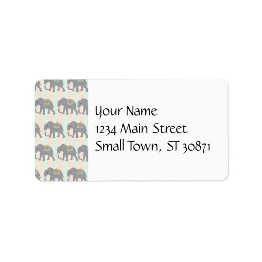 Pretty Elephants Coral Peach Mint Green Striped Label