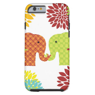 Pretty Elephants in Love Holding Trunks Flowers Tough iPhone 6 Case