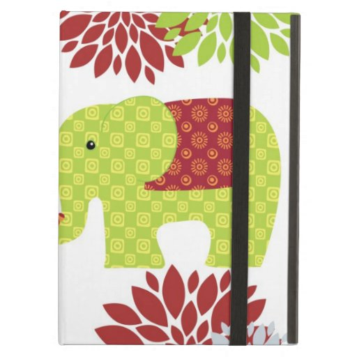 Pretty Elephants in Love Holding Trunks Flowers iPad Covers