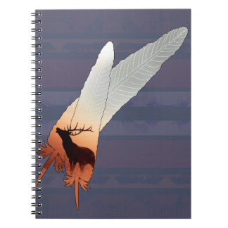 Pretty Elk Native American Feather Navy Blue Note Books