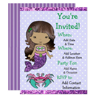 Pretty Ethnic Mermaid Birthday Party Invitations