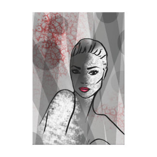 Pretty Face Abstract Art Fashion Illustration Canvas Print