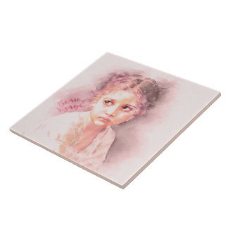Pretty Faced Girl Ceramic Tile