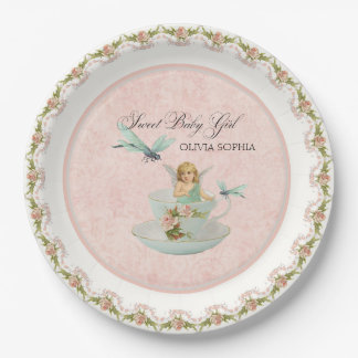 Pretty Fairy Tea Cup Party Baby Shower Party Decor 9 Inch Paper Plate