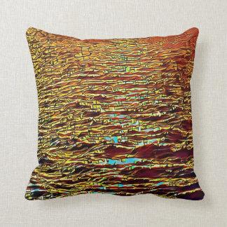 Pretty Fall Burgundy Orange Yellow Ripple Pattern Throw Pillow