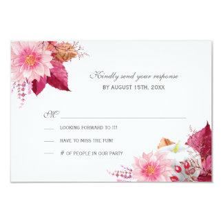 Pretty Fall Dahlias Wedding RSVP Card