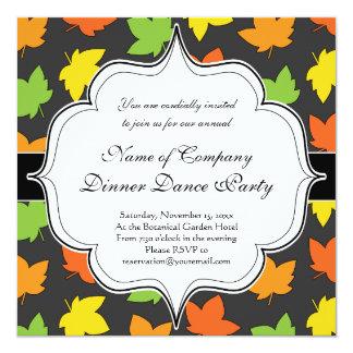 "Pretty Fall Foliage Autumn Harvest Pattern 5.25"" Square Invitation Card"