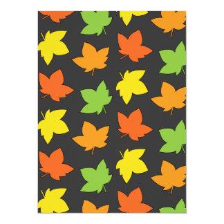 """Pretty Fall Foliage Autumn Harvest Pattern 5.5"""" X 7.5"""" Invitation Card"""