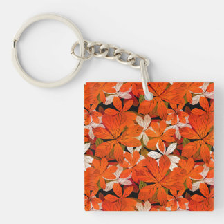 Pretty Fall leaves Pattern Single-Sided Square Acrylic Keychain