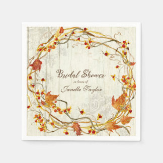 Pretty Fall Leaves Wreath Watercolor Bridal Shower Paper Napkins