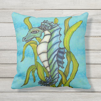 Pretty Fantasy Aqua Blue Dragon Type Seahorse Outdoor Pillow