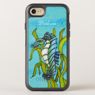 Pretty Fantasy Aqua Seahorse Hanging on to Seaweed OtterBox Symmetry iPhone 8/7 Case