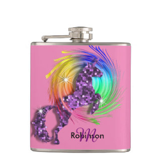 Pretty Fantasy Rainbow Unicorn Personalized Hip Flask