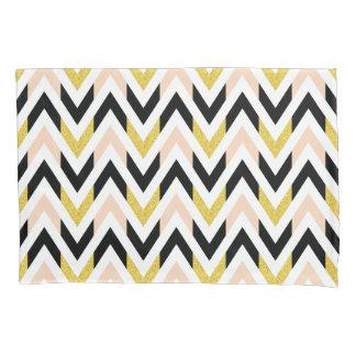 Pretty Faux Glitter Gold, Black, Pink Chevron Pillowcase